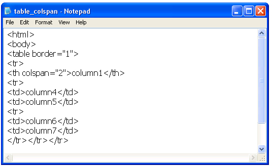 Html from notepad here is 39 column span 39 for Html table th span 2 columns